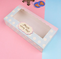 Blue Polka Dot gitf  Packing Boxes,cake packing box with window 30pcs/lot  26.7cmX13.6cmX6.1cm