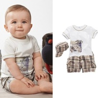 2015 New Arrival Baby boys Summer 3Pcs Casual Sets, Hat+ Short Sleeve T-shirt+ Shorts, Children's suits, 5sets/lot