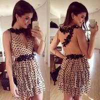 black flower lace and dolt print chiffon dress