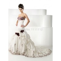 A-line Ball Gown Sweetheart/ Empire Burgundy Rose Wedding Dresses9Red,Black and White) Bridal Gown