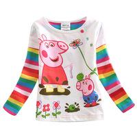 5 Sets/Lot Children Summer Tops Tee Kids Wear Baby Girls Cartoon Peppa Pig Gilrs T Shirt Kids Long Sleeve T-shirt