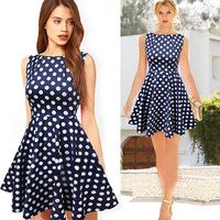2015 new summer vestidos women Sleeveless dress stitching dot Ball Gown dresses Plus Size S-XXL