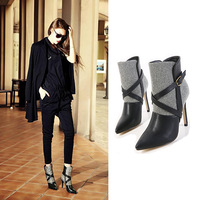 2014 leather pointed toe women boots shoes woman thick high-heeled shoes ankle boot women motorcycle boots martin