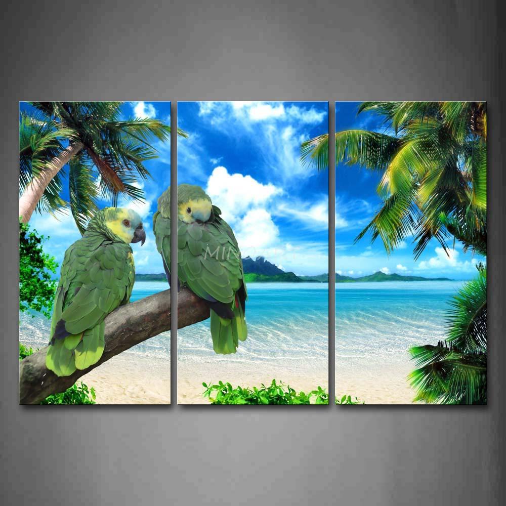 3 peça Wall Art pintura dois papagaios Stand no ramo verde perto árvore coqueiro impressão na lona o retrato Animal(China (Mainland))