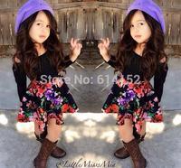 2015 New Spring baby Girl Clothing Set Children Flower dress Suit Kids Twinset Top T Shirt +skirt children clothing set suit