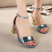 HOT! fashion women high heels sandals quality women's shoes platform wedges shoes colour gold blue