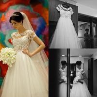 Romantic Short Sleeve Lace Wedding Dress Bride Vestidos Customized Floor Length Bridal Gowns Vestido De Novia Casamento 2015