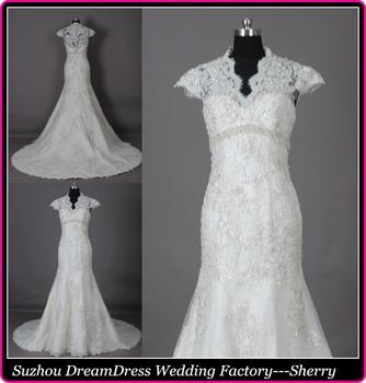 Gtf028 vestido де noiva кружева свадебные платья мантия де свадебная Cap рукавом русалка свадебное платье полностью штапики vestido де casamento