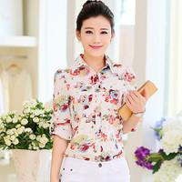 2015 New Arrival Chiffon Regular Full Puff Sleeve Turn-down Collar Print Fashion Natural Color T-shirts Summer Women Shirts