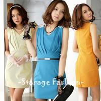 S M L Brand Elegant Ladies Solid Beaded Business Dresses Spring Summer Women Short Formal Dress Female Sleeveless Dress 3308