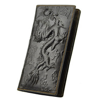 2015 New Vintage Men's  Long Wallets Genuine Leather Dragon Embossing Clutch Purse Bag Card Holders Free Shipping SA04