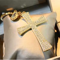 2015 Fashion Car Keychain Crystal Rhinestone Cross Key Chain Key Rings Wholesale