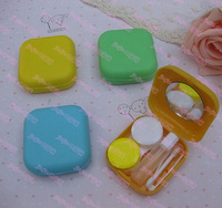 Cute square solid color plastic eyewear contact lenses color  case lens Companion container box