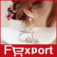 2015 New Stud Earrings for Women Fashion Pearl Jewelry Earing Silver Color Statement  Earring 498