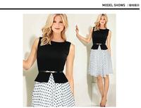 Manufacturers wholesale retail high-grade False two-piece chiffon The big pendulum Wave point dress  S M L XL XXL