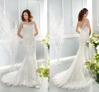 Romantic Elegant Sheer Scoop Neck Lace Wedding Dresses Mermaid Illusion Backless Court Train Vintage Bride Gowns 7672 Zipper_bri