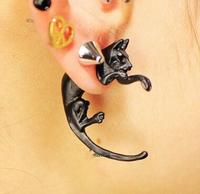 Promotion! Wholesale! Fashion lady women earrings jewelry punk black alloy cat stud earrings (1 piece) ER548