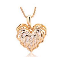 Promotion! Wholesale! Fashion lady women necklaces & pendants elegant hollow out heart alloy long necklaces SN596