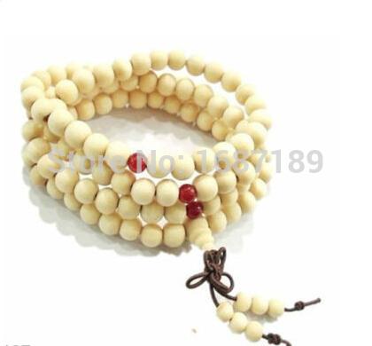 8 mm budista tibetano 108 oração madeira Bead Necklace Mala(China (Mainland))