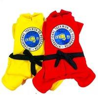 Red Yellow NEW Taekwondo Uniform Pet Dog Fleece Jumpsuit Tracksuit Overalls ITF Prints Coats Small Dogs Winter Clothes S M L XL