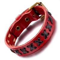 Mens Leather Bracelet, Punk Rock Bangle, Adjustable, Black Red, Cross KR7817