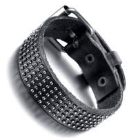 Mens Leather Bracelet, Punk Rock Bangle, Adjustable, Black, KR7816