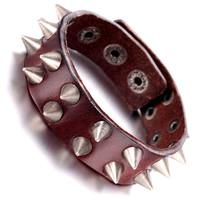 Mens Leather Bracelet, Punk Rock Bangle, Adjustable, Brown, KR7821
