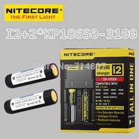 Free shipping original NITECORE I2 intelligent digital battery charger + 2 pcs keeppower KP 18650 3100mah rechargeable batteries