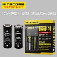 Free shipping original NITECORE I2 intelligent  battery charger + 2 pcs keeppower KP IMR 26650 4200mah rechargeable batteries