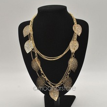 2015 Fashion Multi Layer Necklace Gold Leaf Bohemia Statement Charm Choker Necklaces 925 Sterling Silver Jewelry Y70*MHM239#M5