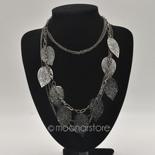 2015 Fashion Multi Layer Necklace Gold Leaf Bohemia Statement Charm Choker Necklaces 925 Sterling Silver Jewelry