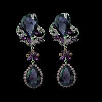 New fashion luxury silver plated purple crystal stone flower long earrings large tear drop dangle earrings jewelry