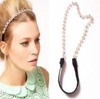Hotsale Quality Fashion Chic Cubic Zirconia Chain Women Stretch Elastic Metalic Women Headbands HairBands