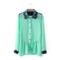 2015 new European and American fashion peas petal collar shirt flounced hem NA1813