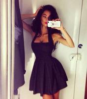 2015 new fashion sexy black mini sleeveless dress hanging neck braces matted, nightclub female party dress WD103