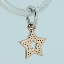 Fits Pandora Bracelet 925 Sterling Silver Rose Gold Plated Five Point Star CZ Charm DIY Gift
