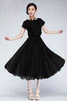 summer dress 2015 new women loose short-sleeved  Belt chiffon long black dress Plus Size