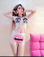 Women Club Danc Costume Silver Sequins Midriff-baring Top+Shorts Eyes+Pink Mouth Cos Free Shipping