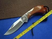 New BODA 420 Blade Wood Handle Camping Fishing Pocket Folding Knife BD04