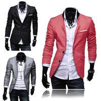 Men's Two Button Slim Fit Suit Casual Blazer Stylish Jackets Coat 3 Color 4 Size