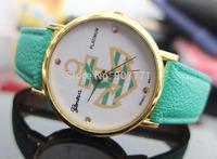 10pcs/Lot Geneva Ladies Platinum Round Anchor Style  Women Men Dress Casual Analog Quartz Wrist Watches PU Leather Hot Sell 2014
