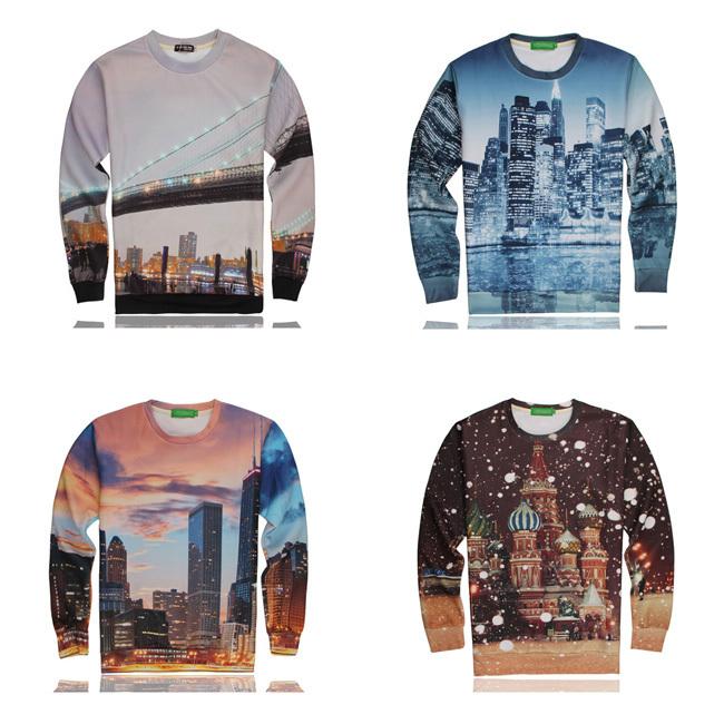 Men's 3D Building Printed Short Sleeves Trendy T-Shirt