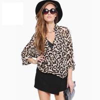 New Fashion 2014 Women Wild Leopard Print Chiffon Blouse Lady Sexy Long Sleeve Top Shirt Loose V neck Leopard Blouse J1079