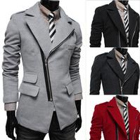 Fashion 2015 New Men's oblique zipper design Solid color woolen coat Stylish Casual Man's winter coat overcoat 4colors