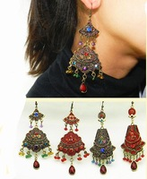 New Yunnan national vintage Ethnic earrings long exaggerated retro oversized gold plated dangle earrings ear buckle exclusive