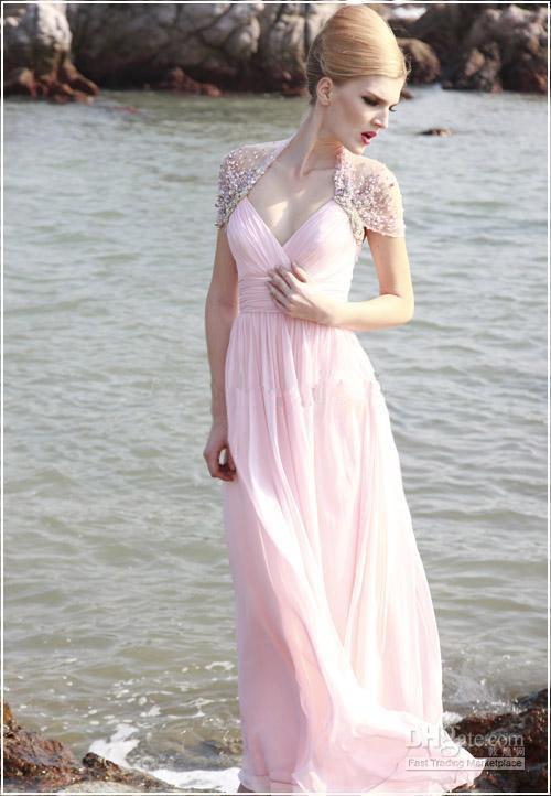 yousef aljasmi Pink Silk V-neck Graceful Wholesale - dress Bridesmaid dress wedding gowns 2015New winter evening dress new(China (Mainland))