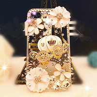 Pumpkin Car Handmade Bling Diamond Crystals Hard Back Case For iPhone4/5/ 6 4.7'' For iPhone6 Plus 5.5'', Free Shipping