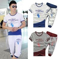 2015 Men Summer sports suit men jogger set short sleeve suit motocross printed jogging suits for men 2 Pcs Sweatsuit for men