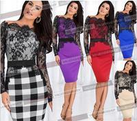 2015 Women Belted Elegant Celebrity Lace Crochet Tunic Stretch Colorblock Bodycon Evening Party Pencil Sheath Dress Work Dress