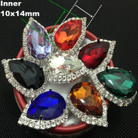 (200pcs/lot)10x14MM Factory Price Vintage Silver Plated Metal Crystal Rhinestone Crystal Button For Baby Girl Jewelry Accessory